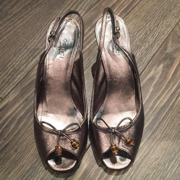 Gucci Bronze Bamboo Heels Size 6.5